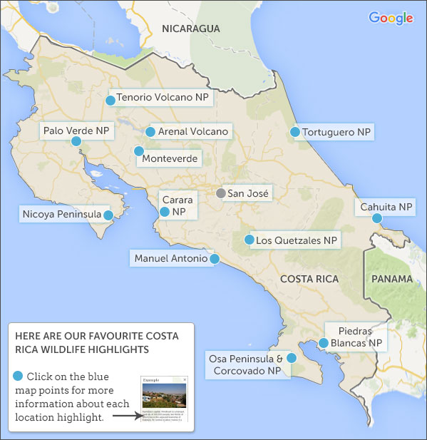 Costa Rica Wildife Map Highlights