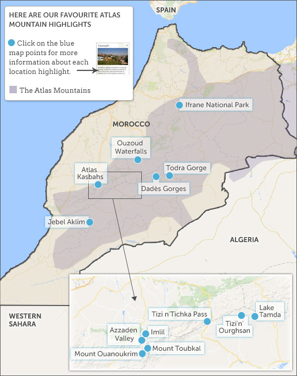 Atlas Mountains map & highlights. Helping Dreamers Do