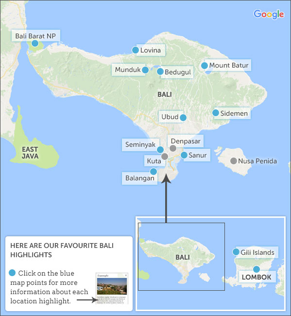 Bali map highlights helping dreamers do bali map highlights thecheapjerseys Choice Image