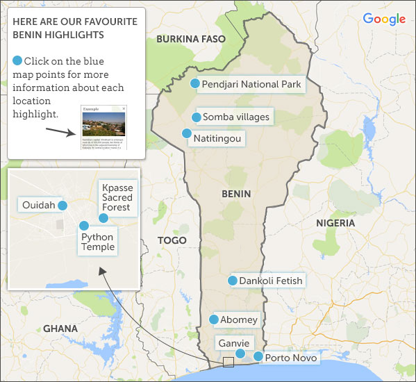 Benin map highlights Helping dreamers do