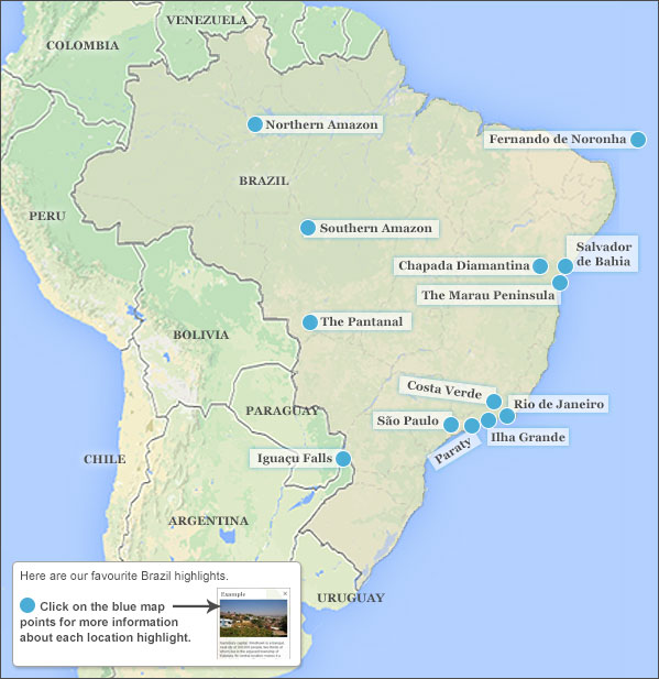Brazil highlights itineraries responsible travel guide to here are our favourite brazil highlights click on the map points below for more information about each brazil highlight gumiabroncs Gallery