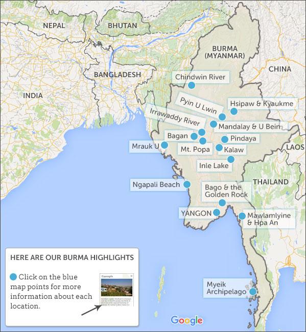 Burma Highlights Burma Highlights And Travel Itineraries - Map of burma