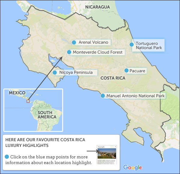 arenal costa rica map Costa Rica Luxury Vacations Map Highlights arenal costa rica map