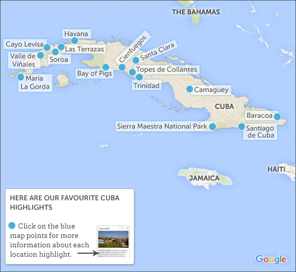 Cuba Itineraries Responsible Travel Guide To The Best Cuba - Cuba on map
