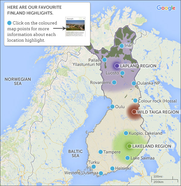 Finland map highlights responsible travel guide to finland with however the country is huge and its landscapes though beautiful are monotonous so we recommend picking just one or two regions and getting really publicscrutiny Images