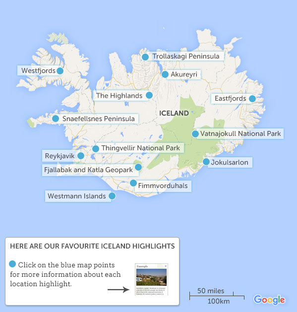 Iceland Map Highlights Responsible Travel Guide To Iceland With - Iceland map
