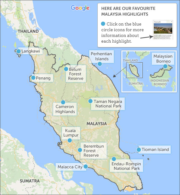 Malaysia Map Highlights Helping Dreamers Do - Malaysia map