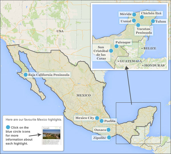 Mexico highlights itineraries responsible travel guide to mexico map highlights gumiabroncs Gallery