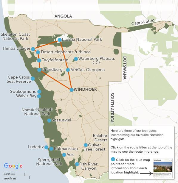 Namibia Itineraries Maps