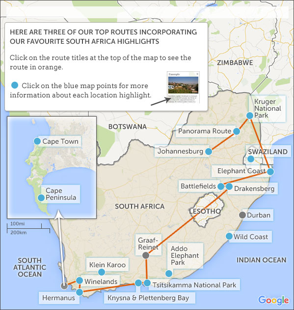south africa itineraries maps suggested south africa with
