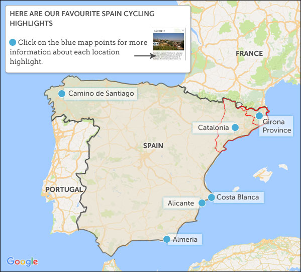Map Of The South Of Spain.Spain Cycling Highlights Helping Dreamers Do
