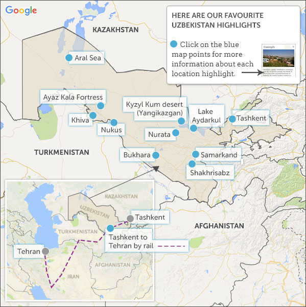 Uzbekistan map highlights Helping Dreamers Do