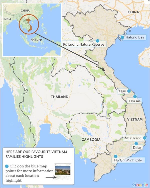 Vietnam families map & highlights. Helping Dreamers Do.