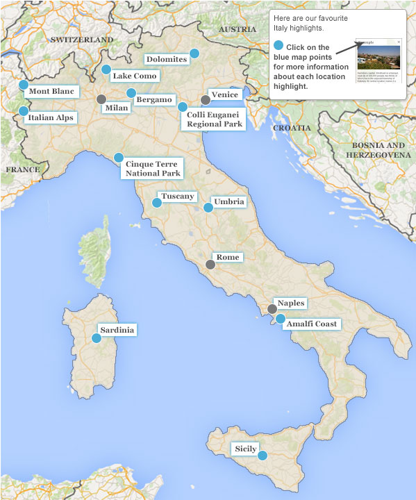 Italy walking vacation highlights map gumiabroncs Images