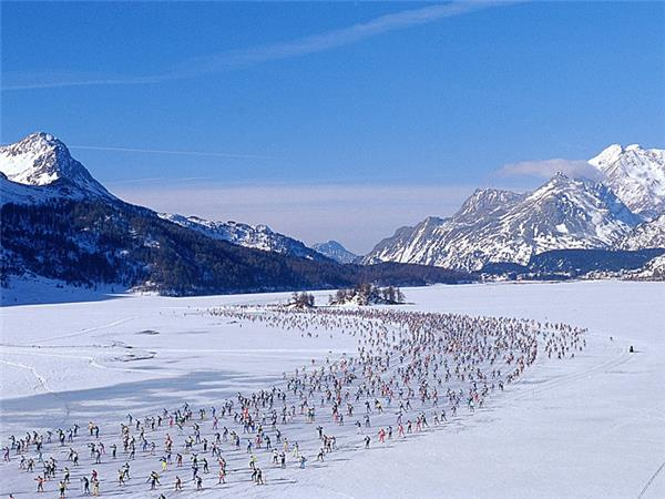 Engadin ski marathon in Switzerland