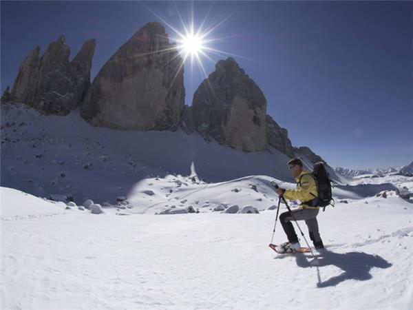 Snowshoeing vaction in the Dolomites