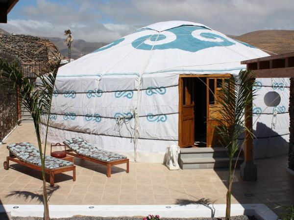 Luxury yurt pod accommodation in Lanzarote, with eco car