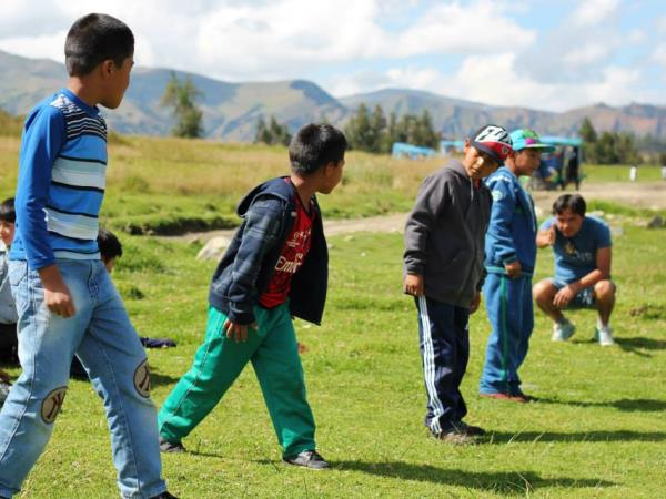 Community volunteering with children in Peru