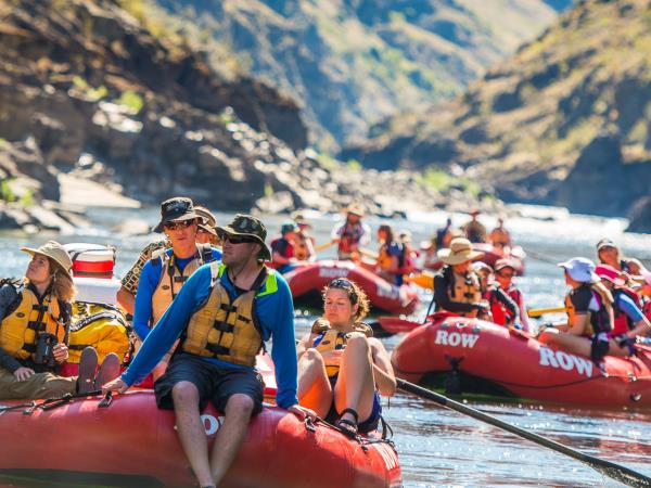 Family rafting holiday on the Salmon River, Idaho, USA