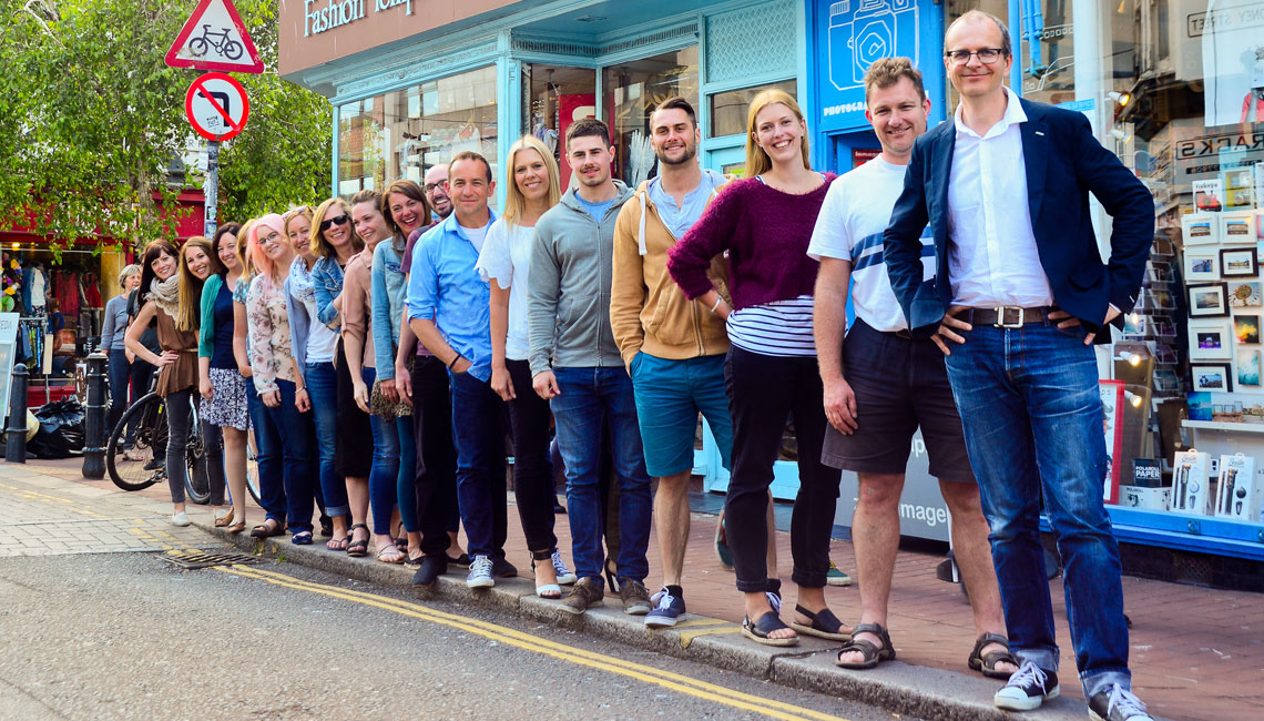 Staff group in Brighton's North Laine