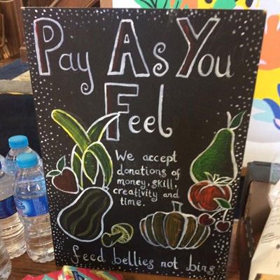 Pay as you feel sign