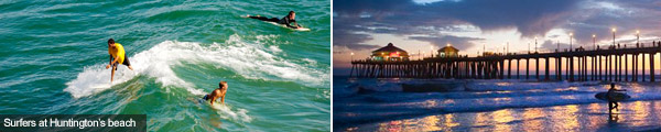 Surfers at Huntington's beach