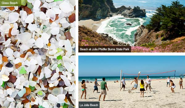 Glass beach, Pfeiffer Burns and beach volleyball at La Jolla