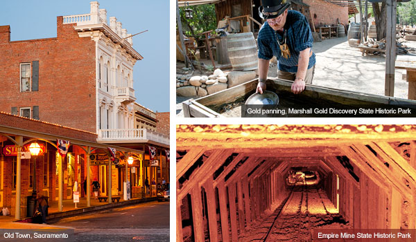 Sacramento Old Town, panning for gold, Empire mine state historic park