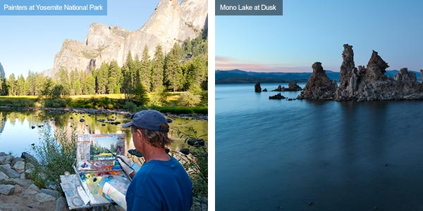 Painting at Yosemite and dusk at Mono Lake