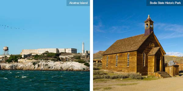 Alcatraz island and Bodie State Historic Park