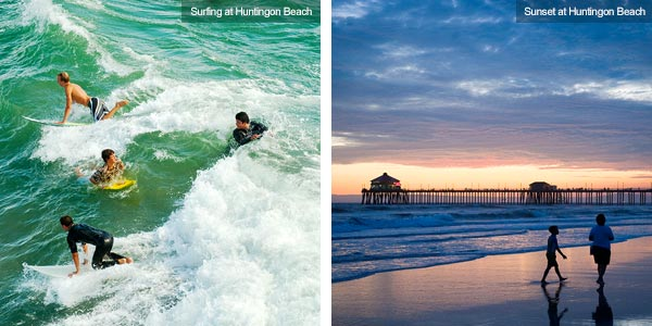 Surfing and strolling at Huntington Beach