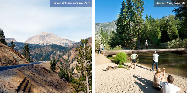 Lassen Volcanic National Park and Merced River in Yosemite National Park