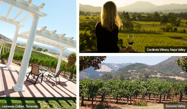 Temecula Valley, Napa Valley and Sonoma Valley