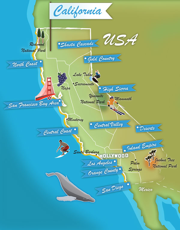 California state map. Illustration by Lisa Joanes