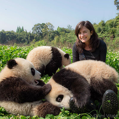 Ami with panda cubs