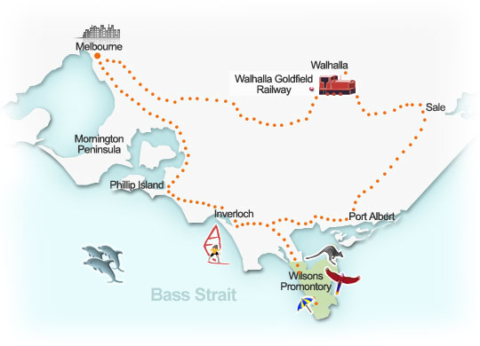 Gippsland touring route map, Victoria. Illustration by Lisa Joanes