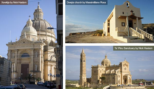 Xewkija, Dwejra and Ta' Pinu churches, Gozo. Photos by Nick Haslam and Massimilliano Rosa