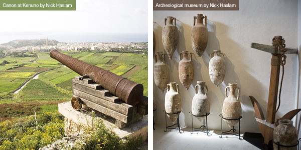 Canon and pottery in archeological museum, Gozo. Photos by Nick Haslam