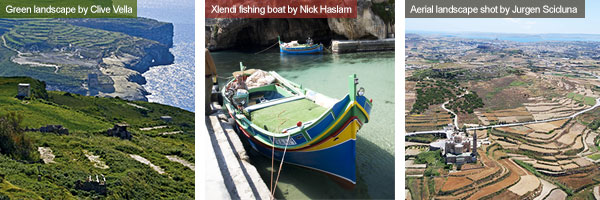 Green landscape, fishing boat and aerial landscape view, Gozo. Photos by Clive Vella, Nick Haslam and Jurgen Sciduna