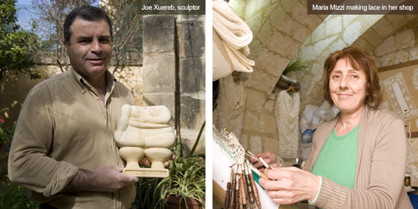 Joe Xuereb the sculptor and Maria Mizzi the lace maker, Gozo. Photos by Nick Haslam