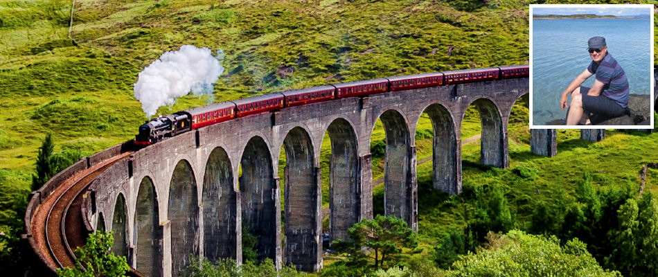 Jacobite Glenfinnan viaduct and (inset) Robert Kidd