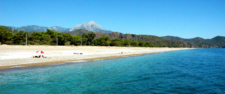 Cirali Beach and mountain backdrop