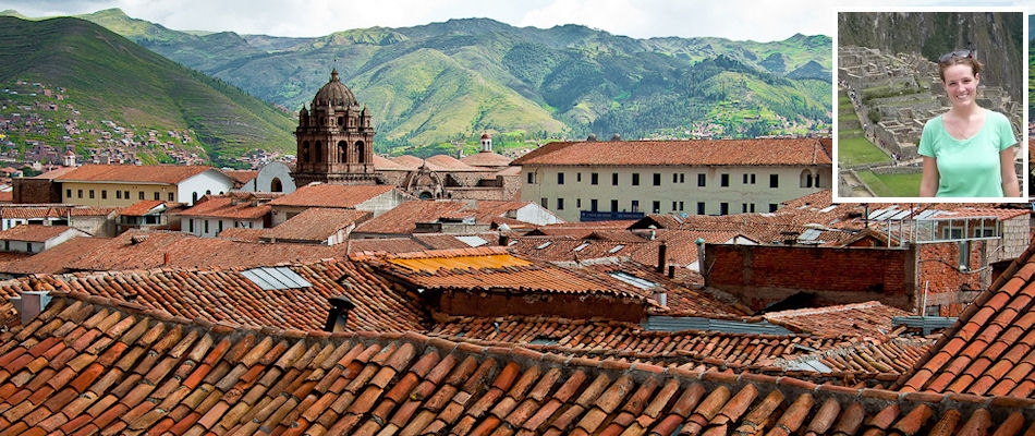 Rooftops of Cusco and (inset) Nicola Gude