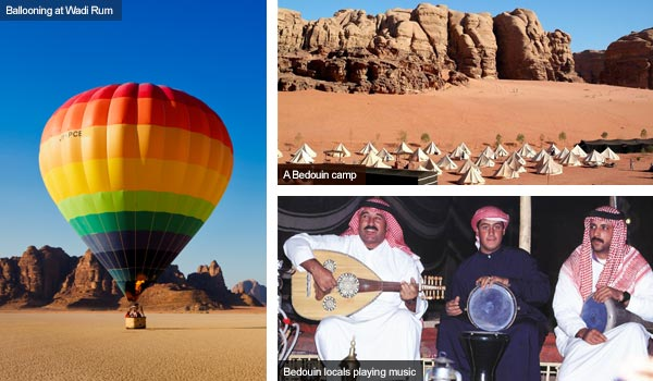 Ballooning, camp and Bedouins enjoying music, Jordan. Photos by Visit Jordan