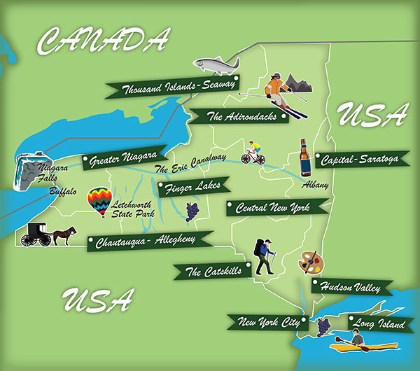 New York State map. Illustration by Lisa Joanes