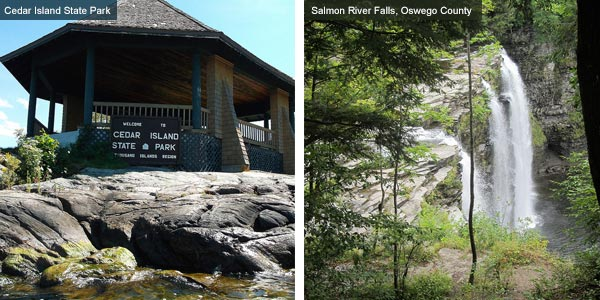 Cedar Island State Park and waterfall at Oswego County, New York State. Photos by Catherine Mack