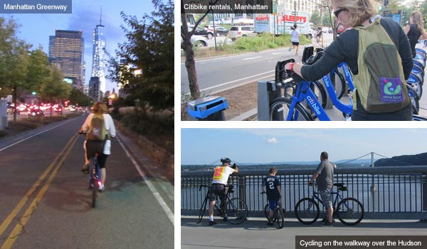 Cycling in Manhattan and along the walkway above the Hudson, New York state. Photos by Catherine Mack