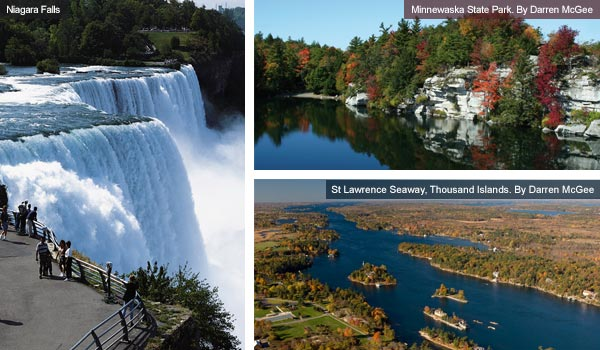 Niagara Falls, Minnewaska State Park and Thousand Islands Seaway, New York State. Photos by Darren McGee
