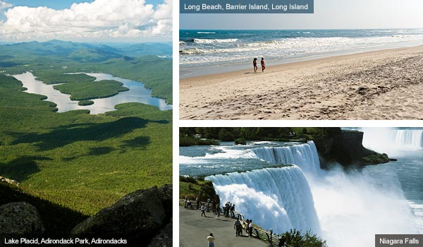 Lake Placid, Long Beach and Niagara Falls, New York State. Photos from New York State Tourist Board
