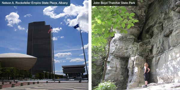 Nelson A. Rockefeller Empire State Plaza, Albany and John Boyd Thatcher State Park, New York State. Photos by New York State Tourist Board and Catherine Mack